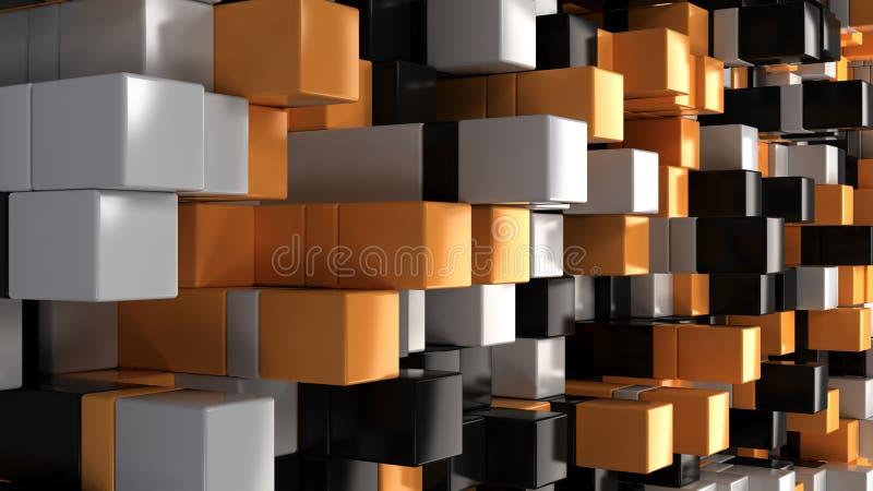 Ściana biali, czarni i pomarańczowi sześciany, royalty ilustracja