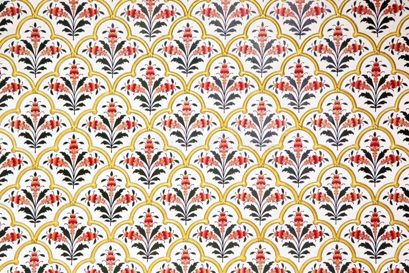 Ściana bogato dekorował w Bikaner pałac, India obraz stock