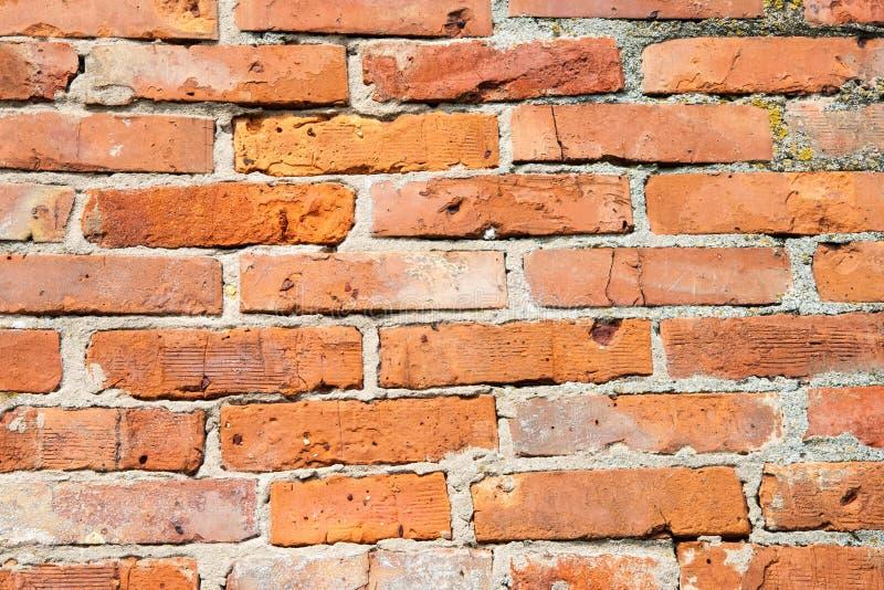 Ściana bricked z czerwonymi cegłami, mali szczegóły obrazy royalty free