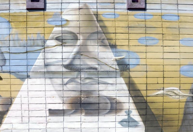 Ściana dekoruje z abstrakcjonistycznym rysunek domowej farby zbliżeniem Szczegół graffiti Czerep dla tła Nowożytny ikonowy miasto obrazy stock