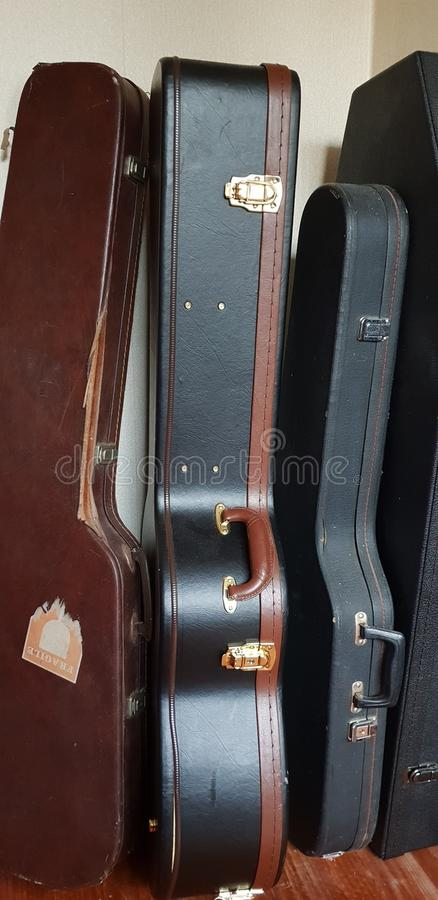 Ściana gitar skrzynki obraz royalty free