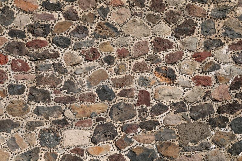 Ściana kamienna piramidy aztec, Teotihuacan, Meksyk zdjęcia royalty free