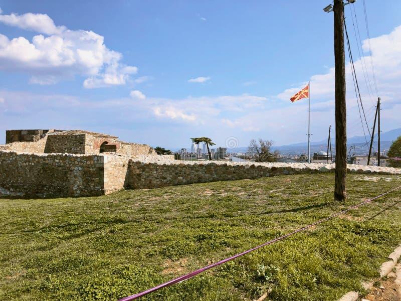 Ściana kasztel w skopie Macedonia fotografia stock
