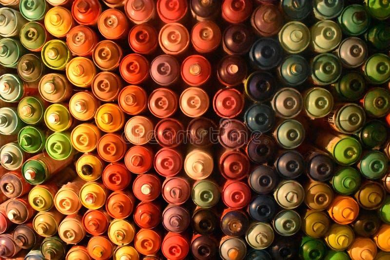 Ściana kiści farby puszki zdjęcia royalty free