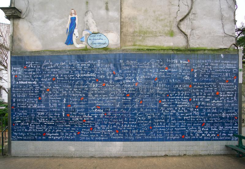 Ściana miłości lub Le Mur Des je t ` aime w ranku wcześnie obrazy royalty free