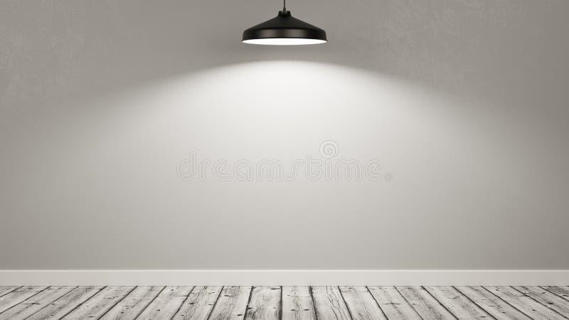 Ściana Pusty pokój Iluminujący lampą royalty ilustracja