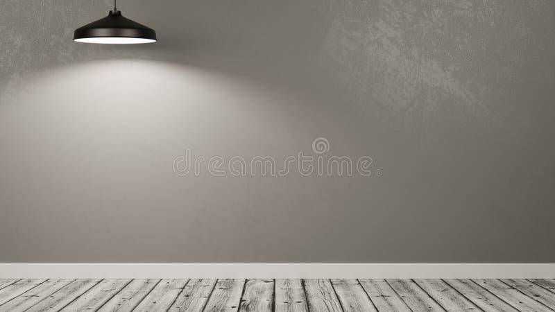 Ściana Pusty pokój Iluminujący lampą ilustracji