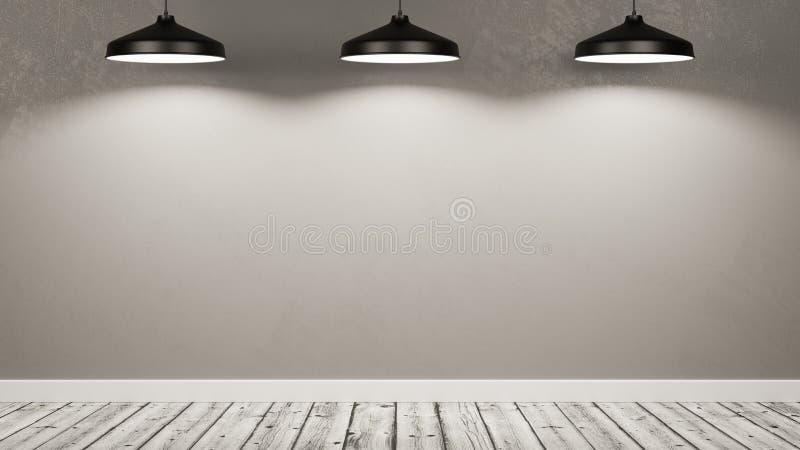 Ściana Pusty pokój Iluminujący lampami ilustracji