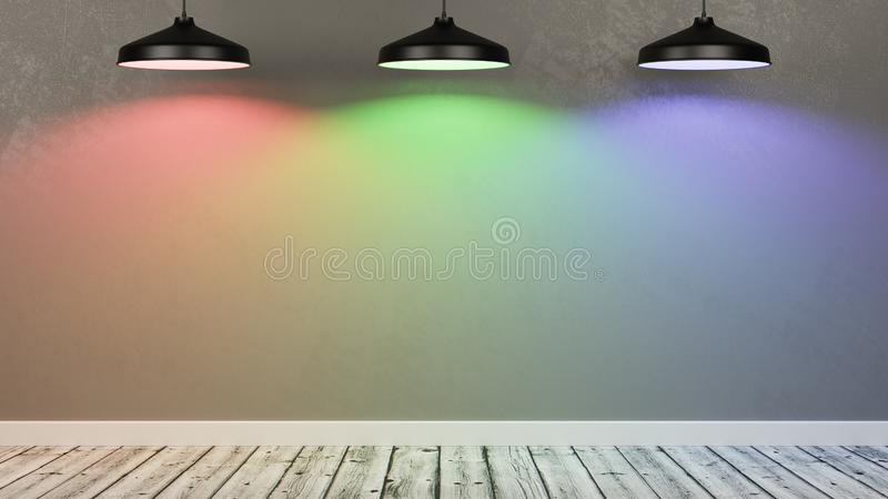 Ściana Pusty pokój Iluminujący RGB światła lampami ilustracji