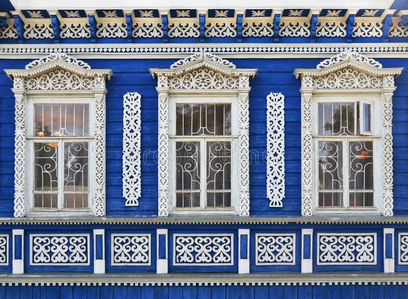 Ściana rosjanina drewniany tradycyjny dom obraz stock
