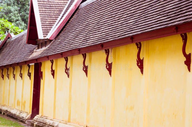 Ściana Saket świątynia jest antycznym Buddyjskim świątynią w Vientiane obraz stock