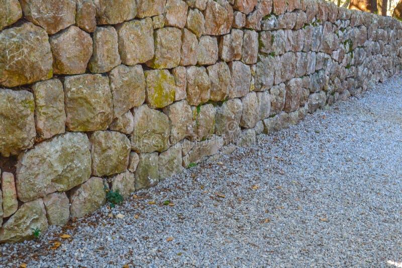 Ściana stary naturalny kamień Tekstura kamień zdjęcie stock