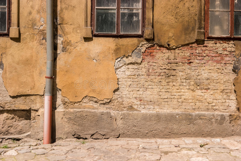 Ściana uszkadzający budynek fotografia stock