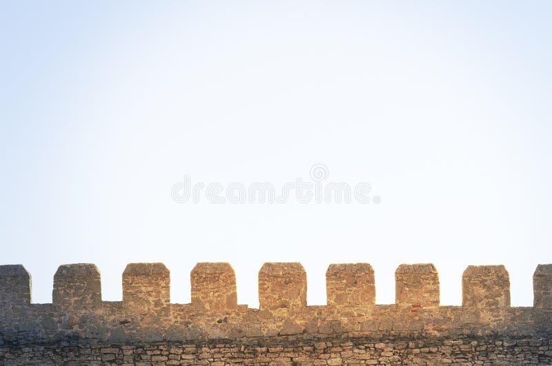 Ściana wierza średniowieczny kasztel w backlight fotografia royalty free