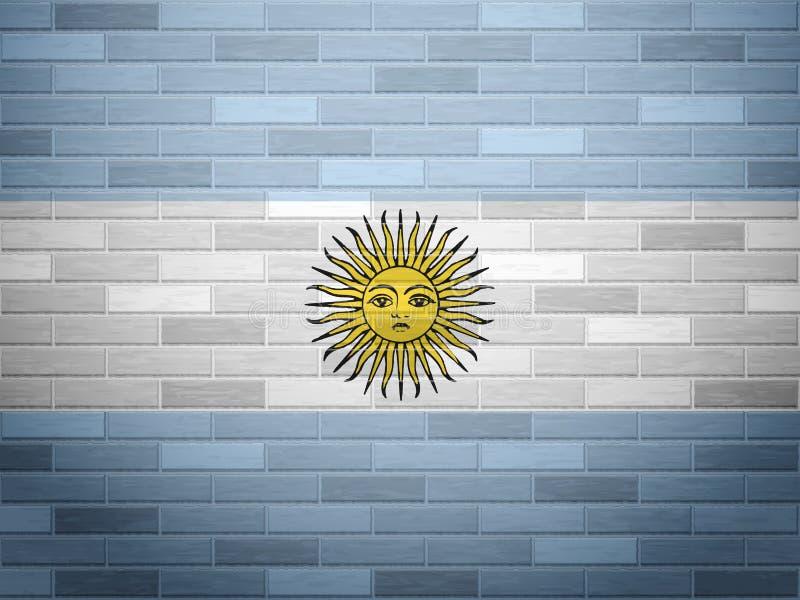 Ściana z cegieł Argentyna flaga ilustracji