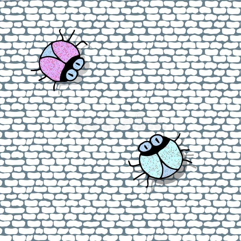 Ściana z cegieł bezszwowy tło z śmiesznymi jaskrawymi błyszczącymi torbami ilustracji