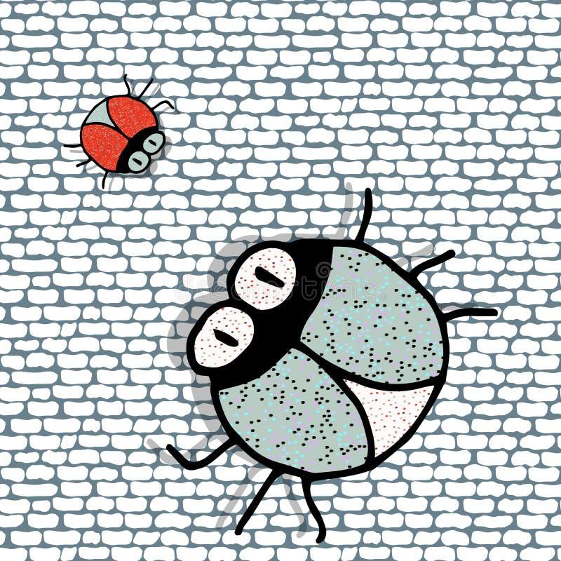 Ściana z cegieł bezszwowy tło z śmiesznymi jaskrawymi błyszczącymi torbami ilustracja wektor