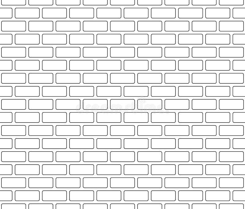 Ściana z cegieł bezszwowy wzór, zarysowany, czerni odosobnionego na białym tle, wektorowa ilustracja ilustracji