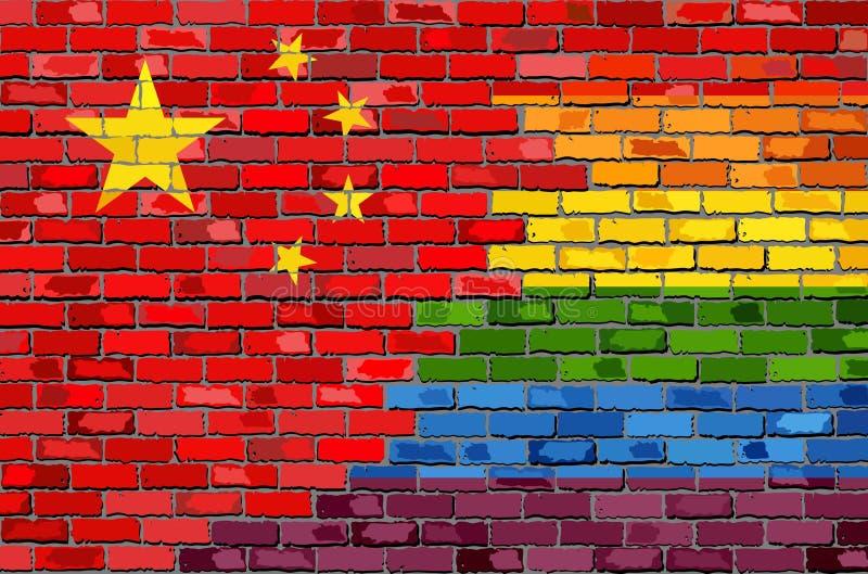 Ściana Z Cegieł Chiny i homoseksualista flaga royalty ilustracja