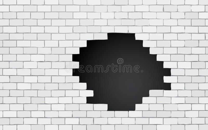 Ściana z cegieł z czarną dziurą ilustracji