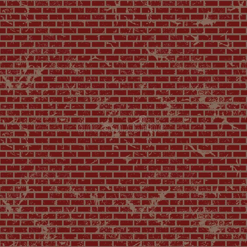Ściana z cegieł, czerwona reliefowa tekstura, wektorowa tło ilustracja ilustracji