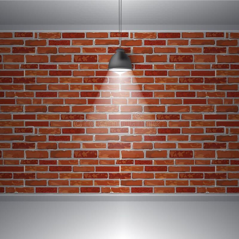 Ściana z cegieł i lampa, abstrakcjonistyczny retro rocznika wnętrze, Wektorowy tło ilustracja wektor