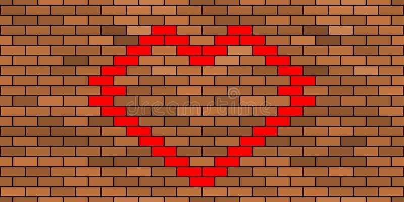 Ściana z cegieł i serce royalty ilustracja