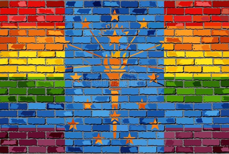 Ściana Z Cegieł Indiana i homoseksualista flaga ilustracja wektor