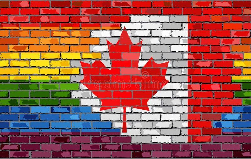 Ściana Z Cegieł Kanada i homoseksualista flaga ilustracja wektor