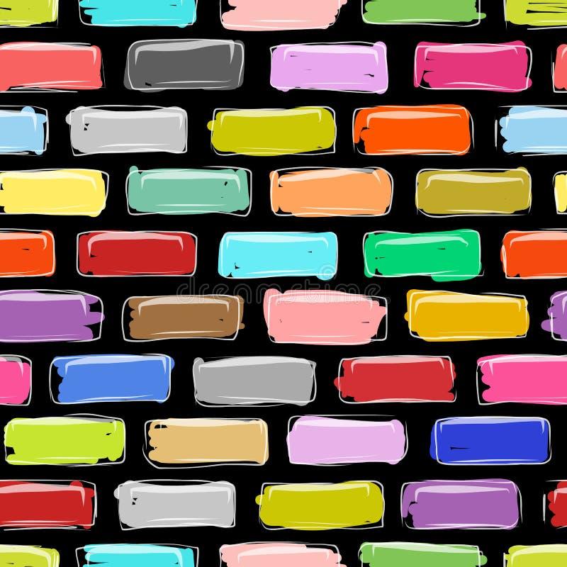 Ściana z cegieł kolorowy, nakreślenie dla twój projekta ilustracja wektor