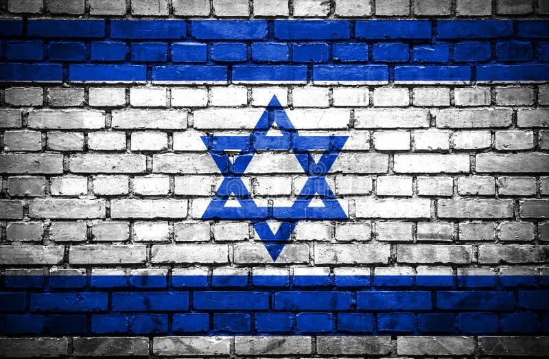 Ściana z cegieł z malującą flagą Izrael ilustracja wektor