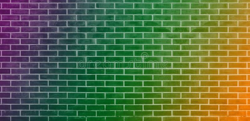Ściana z cegieł, pomarańcz cegieł ściany tekstury zielony purpurowy tło dla graficznego projekta ilustracja wektor