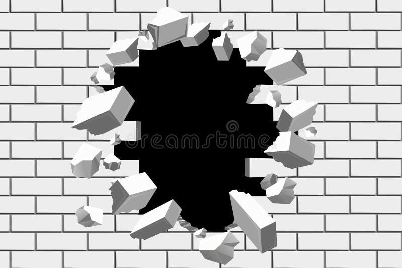Ściana z cegieł przerwy wektoru tło Zniszczona bariera dla biznesu i dokonuje cel ilustracje royalty ilustracja