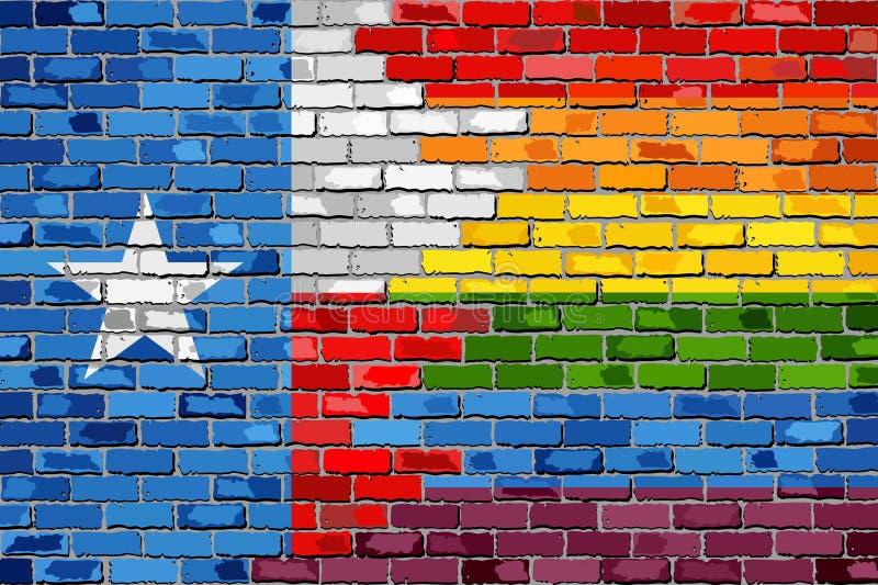 Ściana Z Cegieł Teksas i homoseksualista flaga royalty ilustracja