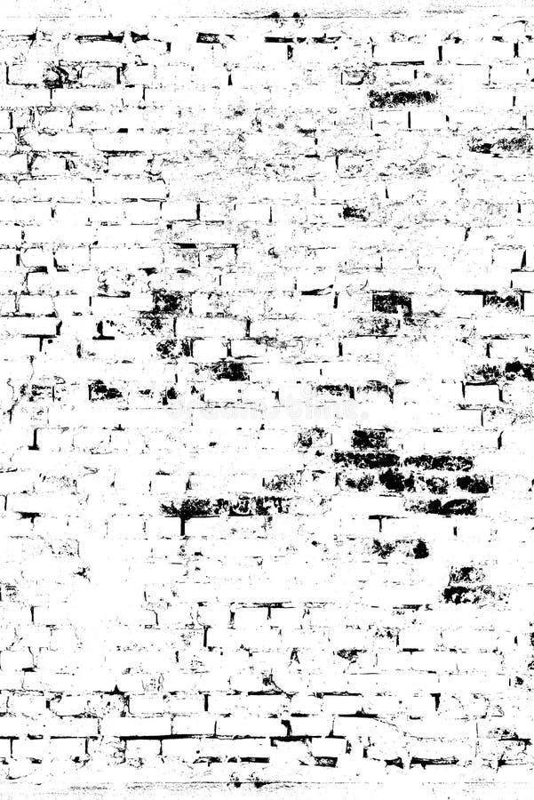 Ściana z cegieł w grunge stylu, wzór na dla narzuty powierzchni, brudnych, nacierających i czarny i biały brzmieniach, ilustracja wektor
