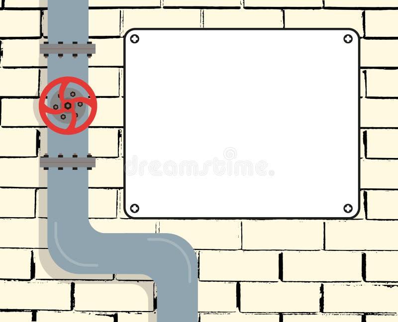 Ściana z cegieł z wodą, gazociąg lub rurociąg naftowy Wodna klapa Tekst deska również zwrócić corel ilustracji wektora ilustracja wektor