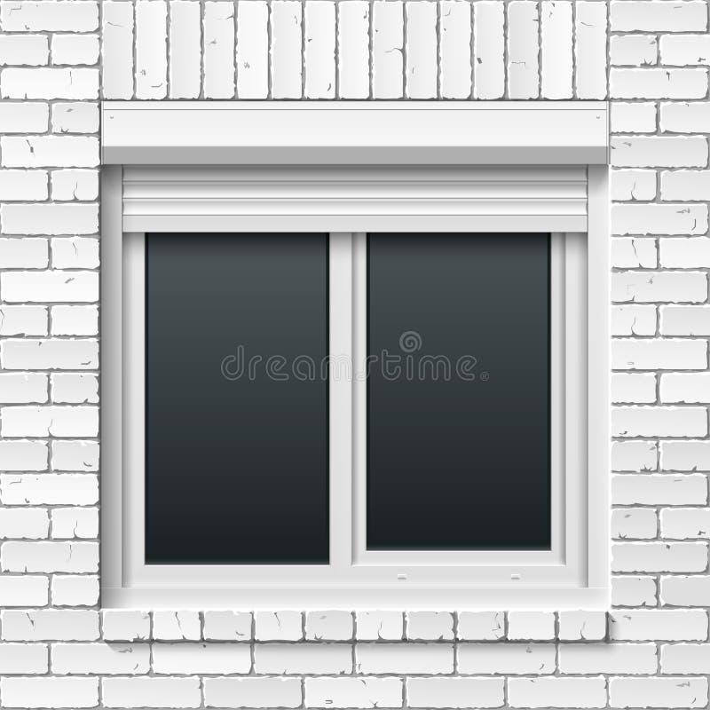 Ściana z cegieł z nadokiennymi i tocznymi żaluzjami ilustracja wektor