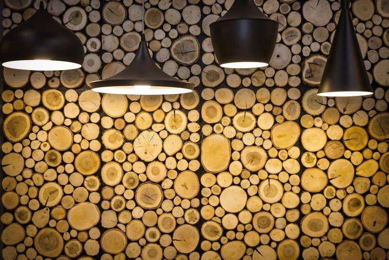 Ściana z drewnianymi dekoracyjnymi panel obrazy royalty free