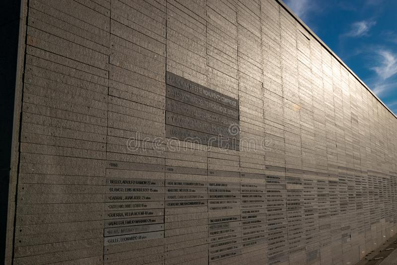 Ściana z imionami ofiary stan przemoc w parku pamięć w Buenos Aires, Argentyna obraz royalty free