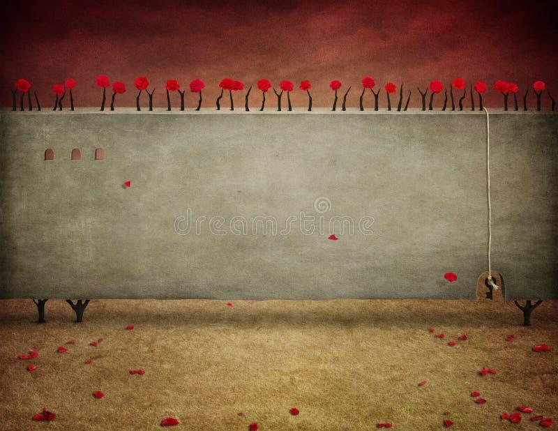 Ściana z różami royalty ilustracja