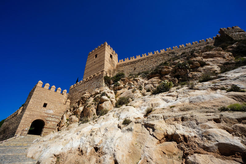 Ściany Almeria, Hiszpania fortyfikujący kasztel zdjęcia stock