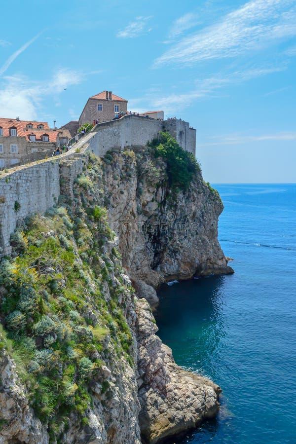 Ściany antyczny miasteczko Dubrovnik, Chorwacja na Czerwcu 18, 2019 Niektóre epizody gra tronu film obrazy royalty free