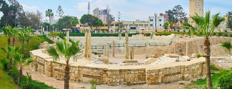 Ściany Romański amphitheatre, Kom reklamy Dikka archeologiczny miejsce, A zdjęcie royalty free