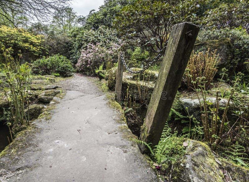 Ścieżka nad mostem uprawiać ogródek zdjęcia royalty free