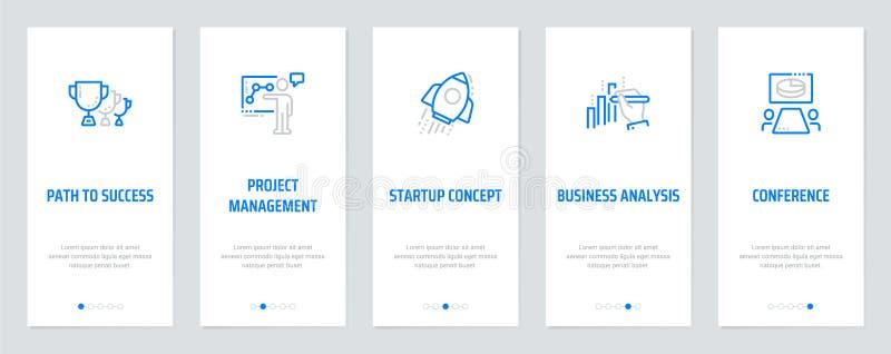 Ścieżka sukces, zarządzanie projektem, Początkowy pojęcie, Biznesowa analiza, Konferencyjne Vertical karty z silnymi metaforami ilustracja wektor
