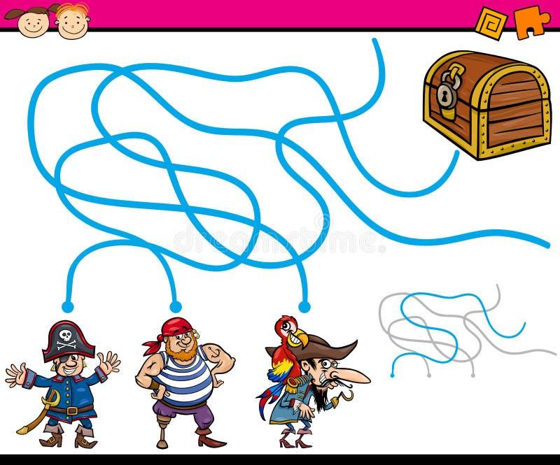 Ścieżki lub labirynt kreskówki gra ilustracja wektor