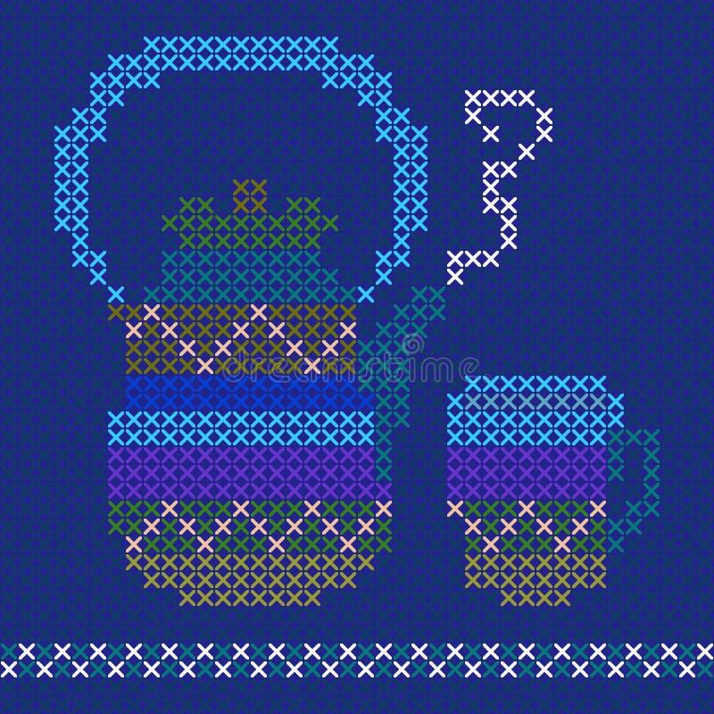Ścieg filiżanka i czajnik Piękny zima wzór ilustracja wektor