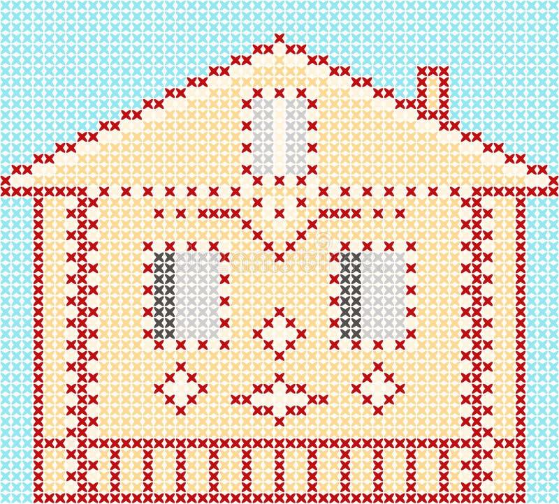 Ścieg kreskówki mały śliczny dom 10 tło projekta eps techniki wektor zdjęcie royalty free