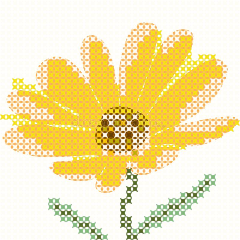 Ściegu calendula kwiat również zwrócić corel ilustracji wektora ilustracji