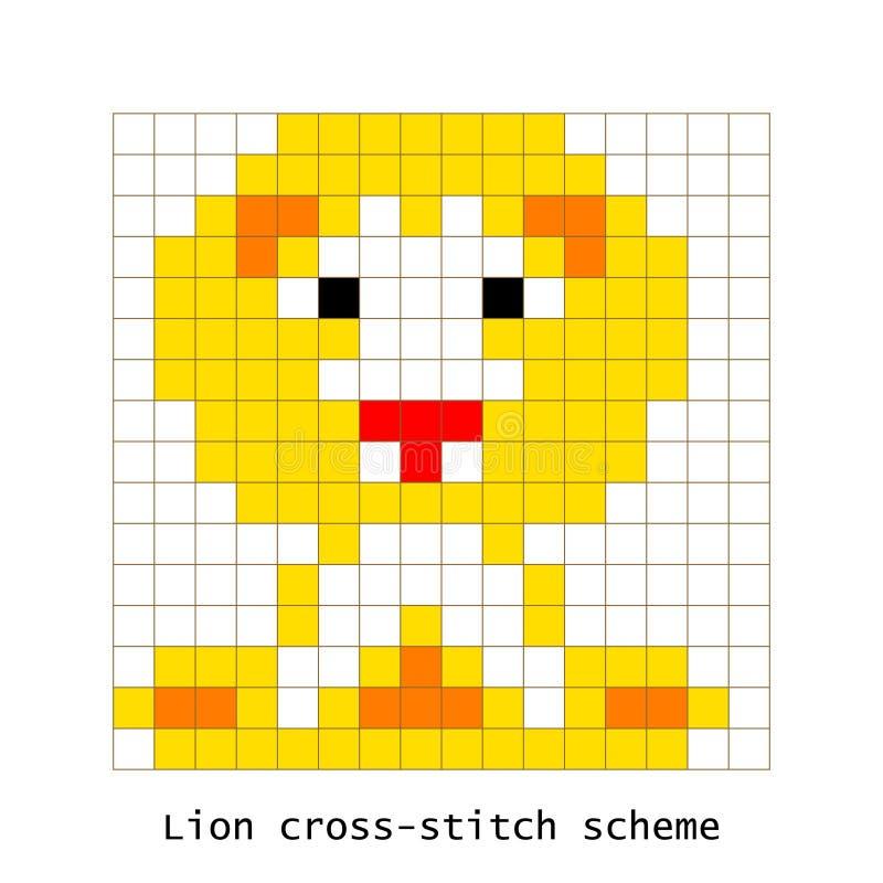 Ściegu piksla sztuki lwa wektoru zwierzęcy set ilustracji